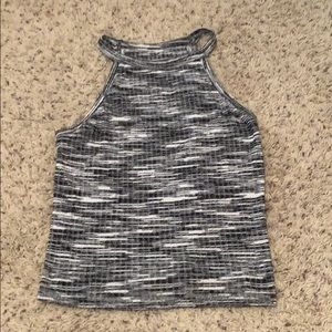 white and black knitted tank